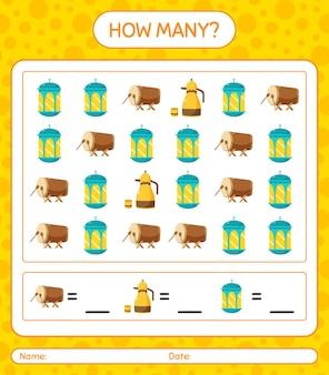 Combien de jeu de comptage avec l'icône du ramadan. feuille de travail pour les enfants d'âge préscolaire, feuille d'activité pour enfants, feuille de travail imprimable