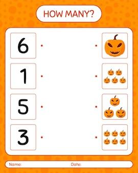 Combien de jeu de comptage avec jack o' lanterne. feuille de travail pour les enfants d'âge préscolaire, feuille d'activité pour enfants