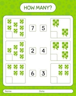 Combien de jeu de comptage avec ketupat. feuille de travail