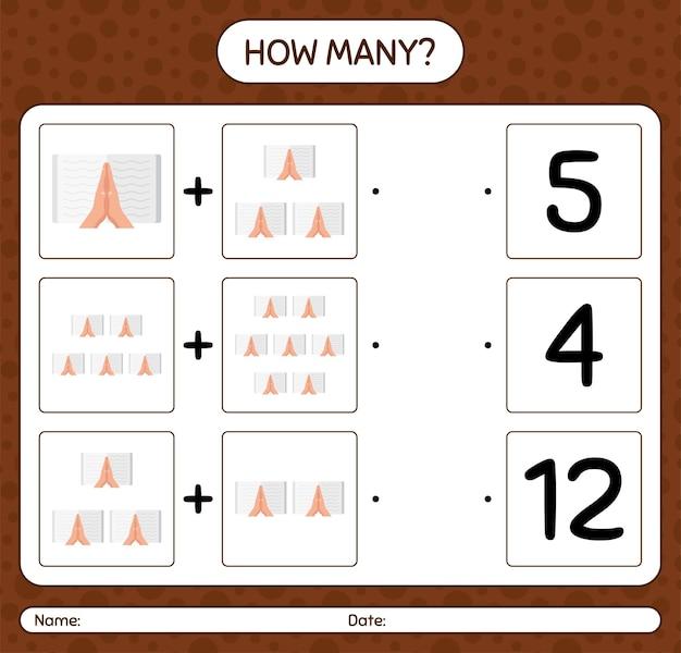 Combien de jeu de comptage avec la lecture du coran. feuille de travail pour les enfants d'âge préscolaire, feuille d'activité pour enfants, feuille de travail imprimable