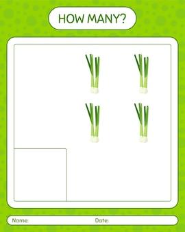Combien de jeu de comptage avec des légumes. feuille de travail pour les enfants d'âge préscolaire