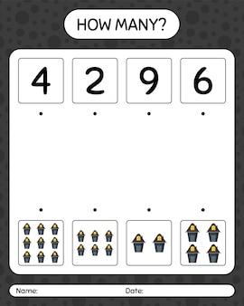 Combien de jeu de comptage avec la maison. feuille de travail pour les enfants d'âge préscolaire, feuille d'activité pour enfants