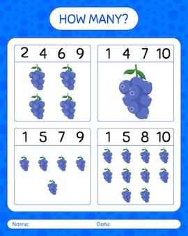 Combien de jeu de comptage avec la myrtille. feuille de travail pour les enfants d'âge préscolaire, feuille d'activité pour enfants, feuille de travail imprimable