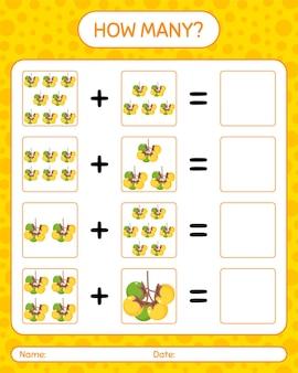 Combien de jeu de comptage avec nance. feuille de travail pour les enfants d'âge préscolaire, feuille d'activité pour enfants, feuille de travail imprimable