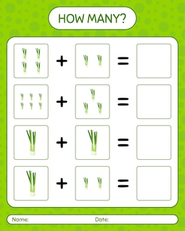 Combien de jeu de comptage avec l'oignon de printemps. feuille de travail pour les enfants d'âge préscolaire, feuille d'activité pour enfants, feuille de travail imprimable