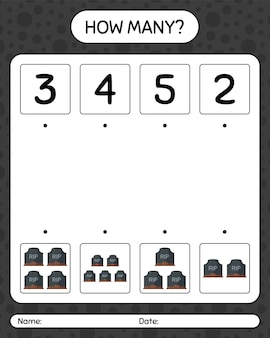 Combien de jeu de comptage avec pierre tombale. feuille de travail pour les enfants d'âge préscolaire, feuille d'activité pour enfants