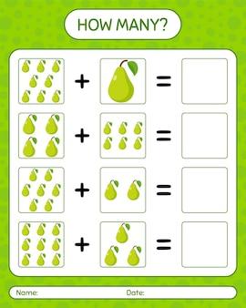 Combien de jeu de comptage avec poire. feuille de travail pour les enfants d'âge préscolaire, feuille d'activité pour enfants, feuille de travail imprimable