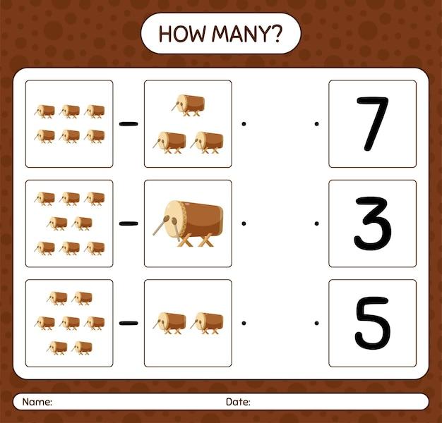 Combien de jeu de comptage avec tambour de punaises de lit. feuille de travail pour les enfants d'âge préscolaire