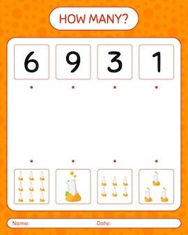 Combien de jeu de comptage avec tube de chimie. feuille de travail pour les enfants d'âge préscolaire, feuille d'activité pour enfants