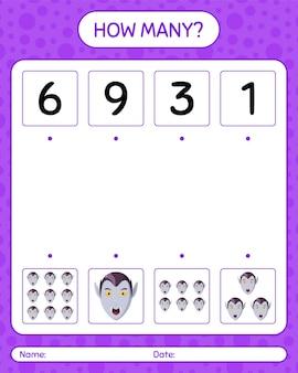 Combien de jeu de comptage avec vampire. feuille de travail pour les enfants d'âge préscolaire, feuille d'activité pour enfants