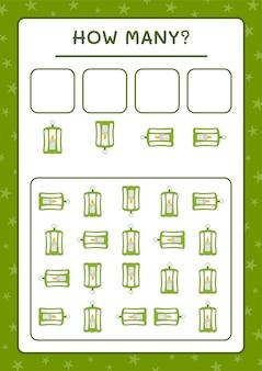 Combien lanterne, jeu pour enfants. illustration vectorielle, feuille de calcul imprimable