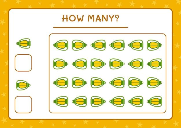 Combien de lanterne de noël, jeu pour enfants. illustration vectorielle, feuille de calcul imprimable