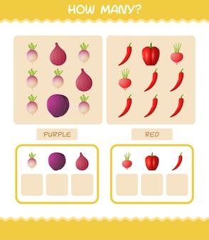 Combien de légumes de bande dessinée. jeu de comptage. jeu éducatif pour les enfants et les tout-petits de la maternelle