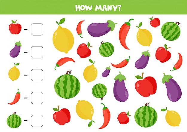 Combien de légumes et de fruits y a-t-il. jeu d'espionnage pour les enfants. feuille de calcul de calcul mathématique pour les enfants d'âge préscolaire.