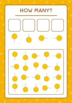 Combien de lollipop, jeu pour enfants. illustration vectorielle, feuille de calcul imprimable