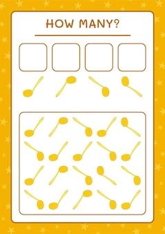 Combien de louche, jeu pour enfants. illustration vectorielle, feuille de calcul imprimable