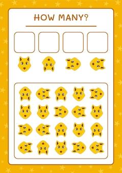 Combien de loup, jeu pour enfants. illustration vectorielle, feuille de calcul imprimable