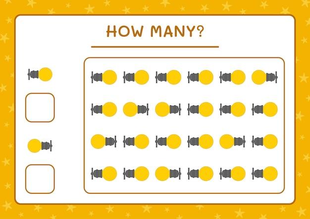 Combien de lumière de noël, jeu pour les enfants. illustration vectorielle, feuille de calcul imprimable