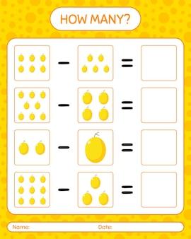 Combien de melon de miel de jeu de comptage. feuille de travail pour les enfants d'âge préscolaire, feuille d'activité pour enfants, feuille de travail imprimable