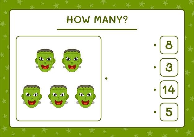 Combien de monster, jeu pour enfants. illustration vectorielle, feuille de calcul imprimable