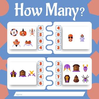 Combien d'objets d'halloween - jeu de comptage avec des objets d'halloween.