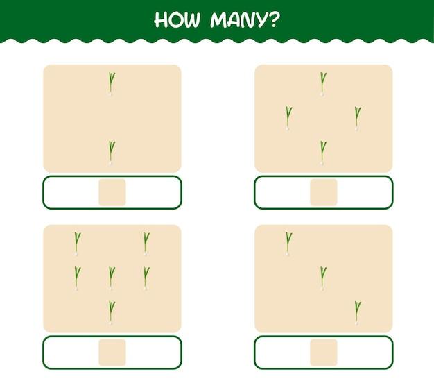Combien d'oignons de printemps de dessin animé. jeu de comptage. jeu éducatif pour les enfants et les tout-petits de la maternelle