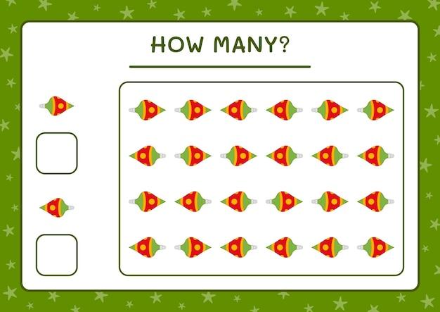 Combien d'ornement de noël, jeu pour enfants. illustration vectorielle, feuille de calcul imprimable