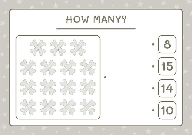 Combien d'os, jeu pour enfants. illustration vectorielle, feuille de calcul imprimable