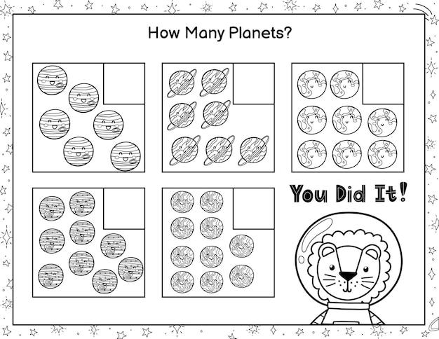 Combien de planètes voyez-vous comptez et écrivez le nombre jeu de mathématiques en noir et blanc