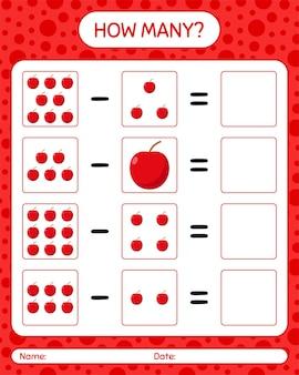 Combien de pomme de jeu de comptage. feuille de travail pour les enfants d'âge préscolaire, feuille d'activité pour enfants, feuille de travail imprimable