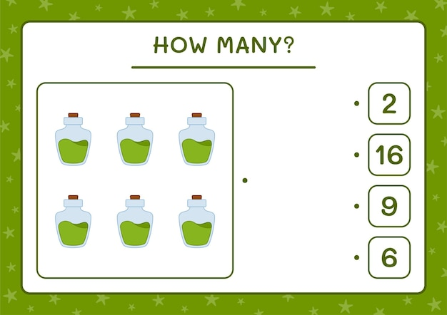 Combien de potion bottle, jeu pour enfants. illustration vectorielle, feuille de calcul imprimable