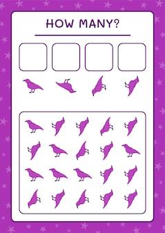 Combien raven, jeu pour enfants. illustration vectorielle, feuille de calcul imprimable
