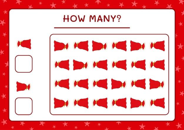 Combien de sac rouge père noël, jeu pour enfants. illustration vectorielle, feuille de calcul imprimable