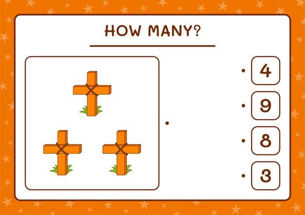Combien de sainte croix, jeu pour enfants. illustration vectorielle, feuille de calcul imprimable