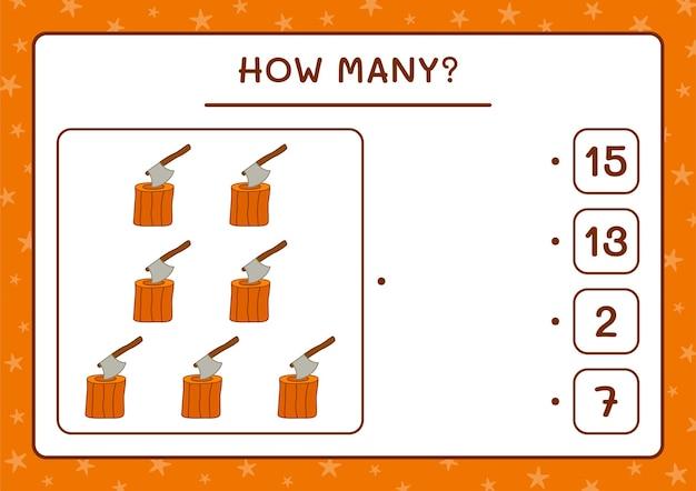 Combien de souche avec hache, jeu pour enfants. illustration vectorielle, feuille de calcul imprimable