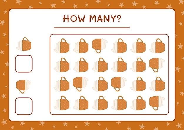 Combien de tasse de noël, jeu pour enfants. illustration vectorielle, feuille de calcul imprimable