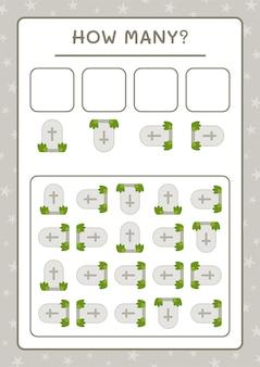 Combien de tombstone, jeu pour enfants. illustration vectorielle, feuille de calcul imprimable