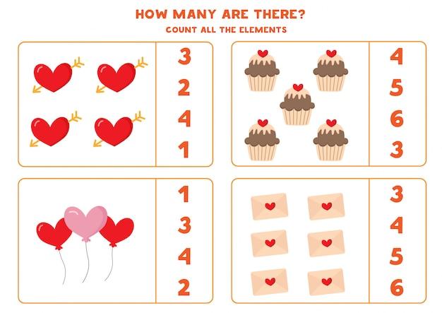 Combien y en a-t-il, comptez tous les éléments de la saint-valentin.