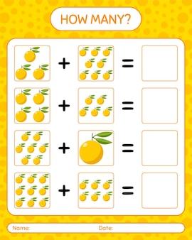 Combien de yuzu de jeu de comptage. feuille de travail pour les enfants d'âge préscolaire, feuille d'activité pour enfants, feuille de travail imprimable