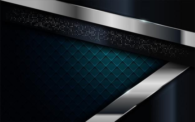 Combinaison de bleu marine réaliste avec un fond texturé de lignes argentées et noires
