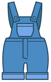 Combinaison avec bretelles et poches réglables, vêtements en jean pour enfants. icône isolée de vêtements pour enfants, body en jean bleu pour bébés. vêtements élégants à la mode pour kiddo, vecteur à plat