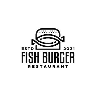 Combinaison d'un burger et d'un poisson bon pour les restaurants ou toute entreprise liée au burger