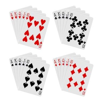 Combinaison de cartes à jouer quinte flush royale sur fond blanc dans le vecteur eps 8