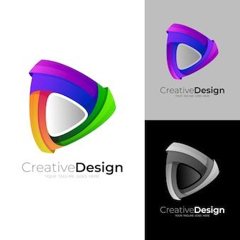 Combinaison de conception de logo de jeu et d'amour, 3d coloré