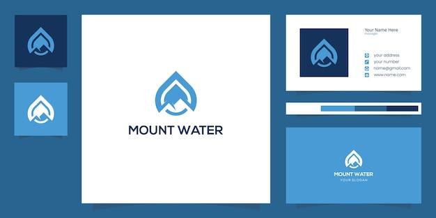 Combinaison de conception de logo de montagne et de goutte d'eau