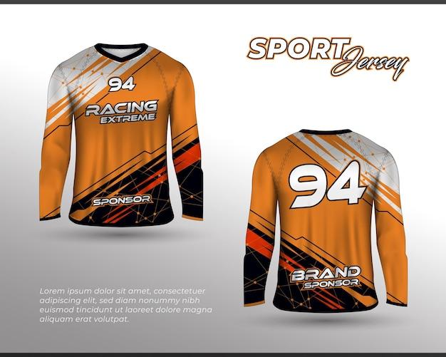 Combinaison de course de sport à manches longues conception de t-shirt à l'avant et au dos