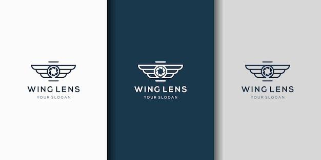 Combinaison créative du logo de l'aile de la caméra et de l'objectif
