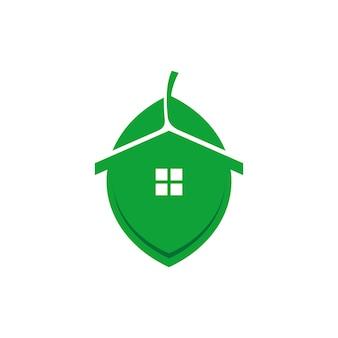 Combinaison d'une feuille et d'une maison idéale pour une société immobilière sur le thème de la nature