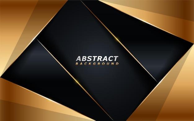 Combinaison de fond sombre de luxe avec élément de formes de lignes dorées.