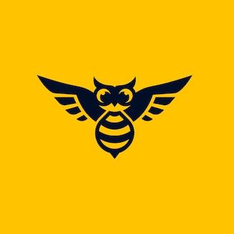 Combinaison de hibou de conception de logo avec l'abeille
